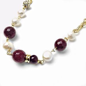 Multi Faceted Beads Crystal Pearl Chain Necklace
